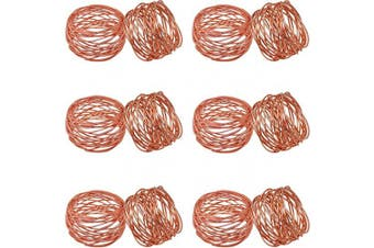 (12, Copper) - SKAVIJ Metal Mesh Napkin Rings Set for Dining Table Decoration (Dia-5.1cm , Pack of 12, Copper)
