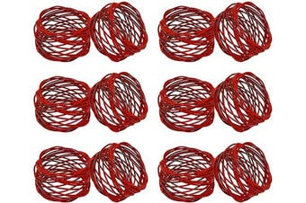 (12, Red) - SKAVIJ Metal Mesh Napkin Rings Set for Dining Table Decoration (Dia-5.1cm , Pack of 12, Red)