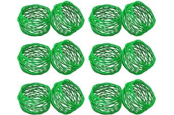 (12, Green) - SKAVIJ Metal Mesh Napkin Rings Set for Dining Table Decoration (Dia-5.1cm , Pack of 12, Green)