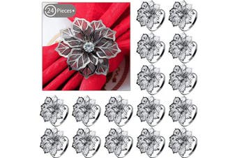 (Black) - 24 Pieces Red Napkin Rings Alloy Napkin Rings with Hollow Out Flower Napkin Holder Adornment Exquisite Household Napkins Rings Set Floral Rhinestone Napkin Rings for Wedding Decor (Black