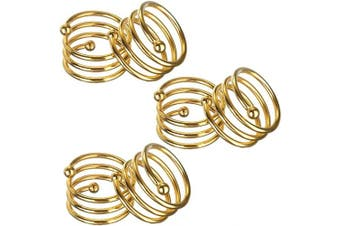 (6, Gold) - ANJUU Metal Spiral Napkin Rings Round Serviette Holder Buckles Napkin Rings for Dinner, Holiday Parties, Family Gatherings, Dinner Party, Table Decorations, Set of 6 (Gold)