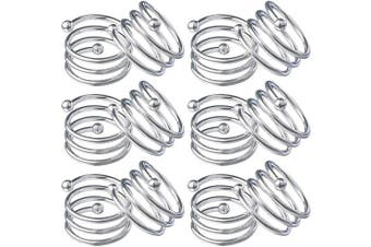 (12, Silver) - ANJUU Metal Spiral Napkin Rings Round Serviette Holder Buckles Napkin Rings for Dinner, Holiday Parties, Family Gatherings, Dinner Party, Table Decorations, Set of 12 (Silver)