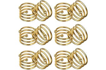 (12, Gold) - ANJUU Metal Spiral Napkin Rings Round Serviette Holder Buckles Napkin Rings for Dinner, Holiday Parties, Family Gatherings, Dinner Party, Table Decorations, Set of 12 (Gold)