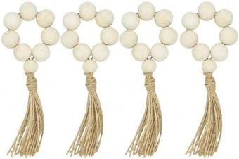 LIOOBO 8pcs Wood Bead Garland with Tassels Farmhouse Beads Rustic Country Decor Prayer Beads Wall Hanging Decor Napkin Rings Weddings Home Decor