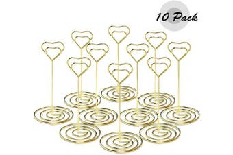 (B-gold) - Atopxing 10pcs 12cm Place Card Holders, Sturdy Table Number Holder, Classy Table Photo Picture Stands, Elegant Menu Note Clips, Idea for Wedding, Birthday, Bridal Shower, Graduation Party (Gold)