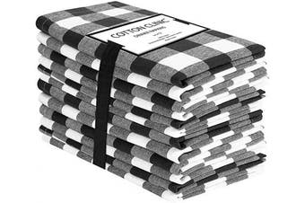 (Napkins 20x20, Black White) - Cotton Clinic 20x20 Gingham Buffalo Cheque Cloth Dinner Napkins Pack of 12, 100% Cotton Cocktail Napkins, Wedding Dinner Napkins with Mitered Corners and Generous Hem - Black White