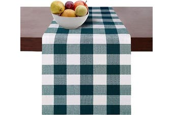(Runners 14x72, Teal White) - Cotton Clinic Set of 2 Gingham Buffalo Cheque Table Runners Farmhouse 180cm , 14x 72 Cotton Wedding Table Runners, Rustic Bridal Shower Decor Dining Table Runners Teal White