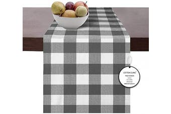 (Runners 14x72, Gray White) - Cotton Clinic Set of 2 Gingham Buffalo Cheque Table Runners Farmhouse 180cm , 14x 72 Cotton Wedding Table Runners, Rustic Bridal Shower Decor Dining Table Runners Grey White