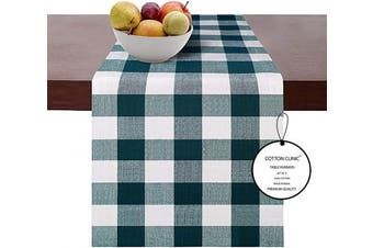 (Runners 14x90, Teal White Table Runners) - Cotton Clinic Set of 2 Gingham Buffalo Cheque Table Runners Farmhouse 230cm , 14x 90 Cotton Wedding Table Runners, Rustic Bridal Shower Decor Dining Table Runners Teal White