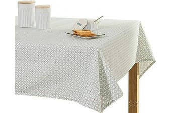 (150cm W X 230cm L, Silver Grey Flowers) - Coit & Campbell Premium 100% Cotton Printed Tablecloths, Ideal Tablecloth for Parties,Holiday Dinner,Buffets Table Cloth Regular Home Use Washable Rectangle Table cover (150cm X 230cm ,Silver Grey Flowers)