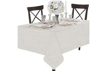 (140cm W X 180cm L, Fossil Ivory) - Coit & Campbell Premium 100% Cotton Printed Tablecloths, Ideal Tablecloth for Parties, Holiday Dinner, Buffets Table Cloth Regular Home Use Washable Rectangle Table cover (140cm X 180cm , Fossil Ivory)