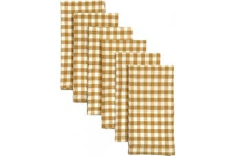(Napkin Set 18x18, Yellow) - VHC Brands Harvest & Thanksgiving Farmhouse Tabletop & Kitchen-Katie Yellow Table Décor, Napkin Set 18x18
