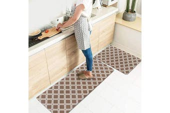 (43cm  X 70cm +43cm  X 150cm , Khaki Diamond) - Kitchen Rugs Mats LEEVAN Set of 2 Comfort Mat Kitchen Floor Mat Anti Fatigue Wipe Clean Non Slip Oil Stain Resistant (43cm X 70cm +43cm X 150cm , Khaki Diamond)