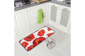 (Red Poppy) - AGONA Anti Fatigue Kitchen Mat Red Poppies Floral Kitchen Floor Mat Soft Standing Mats Non Slip Kitchen Rugs Bath Rug Runner Carpet for Home Decor Indoor Outdoor