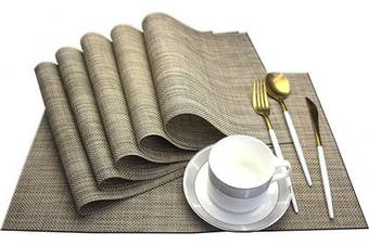 Bright Dream Dinner Mats Easy to Clean for Dining Table Woven Vinyl Placemats Heat Resistant 12x18 inche Table Mats Set of 6(Khaki)