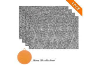 (set of 4, Grey) - Sayopin Place Mats Set of 4 Heat Insulation Stain Resistant Placemats for Dining Table Durable Cross Weave Woven Vinyl Kitchen Table Mats Placemat (Grey-4)