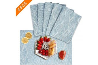 (set of 6, Blue) - Sayopin Place Mats Set of 6 Heat Insulation Stain Resistant Placemats for Dining Table Durable Cross Weave Woven Vinyl Kitchen Table Mats Placemat(6,Blue)