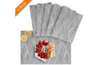 (set of 6, Grey) - Sayopin Placemat Set of 6 Washable Placemats for Dinner Table Indoor Outdoor Heat Resistant Stain Resistant Crossweave Woven Vinyl Kitchen Table Mats Wipe Clean(6,Grey)