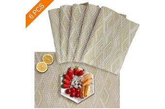 (set of 6, Gold) - Sayopin Placemat Set of 6 Washable Placemats for Dinner Table Indoor Outdoor Heat Resistant Stain Resistant Crossweave Woven Vinyl Kitchen Table Mats Wipe Clean(6,Gold)