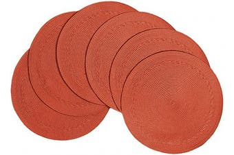 (Braided Edge, Persimmon) - Benson Mills PM Braided Edge Placemats (Set of 6), Persimmon