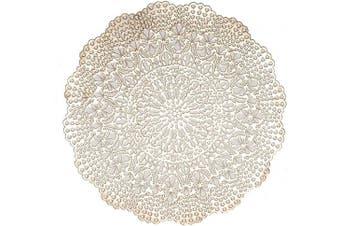(Devon- Gold) - Benson Mills Elegant Pressed Vinyl Placemat, Set of 4, 41cm Round, Devon- Gold