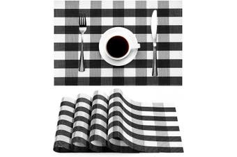 (White & Black) - Syntus Placemats, Black and White PVC Woven Vinyl Buffalo Cheque Table Mats Washable Non-Slip Heat Resistant for Kitchen Dinning Table Thanksgiving & Christmas, Set of 4