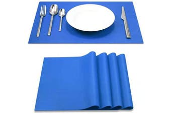 (Classic Blue) - IYYI Silicone Placemats,Placemats for Kids,Placemats Set of 4 Waterproof Heat Resistant Non-Slip Kitchen Table Mats for Dining Table, Easy to Clean (Classic Blue)