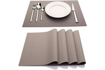 (Light Grey) - IYYI Silicone Placemats,Placemats for Kids,Placemats Set of 4 Waterproof Heat Resistant Non-Slip Kitchen Table Mats for Dining Table, Easy to Clean