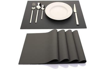 (Dark Gray) - IYYI Silicone Placemats,Placemats for Kids,Placemats Set of 4 Waterproof Heat Resistant Non-Slip Kitchen Table Mats for Dining Table, Easy to Clean (Dark Grey)