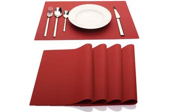 (Red) - IYYI Silicone Placemats,Placemats for Kids,Placemats Set of 4 Waterproof Heat Resistant Non-Slip Kitchen Table Mats for Dining Table, Easy to Clean (Red)