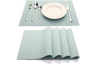 (Light Blue) - IYYI Silicone Placemats,Placemats for Kids,Placemats Set of 4 Waterproof Heat Resistant Non-Slip Kitchen Table Mats for Dining Table, Easy to Clean (Light Blue)