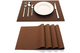(Coffee) - IYYI Silicone Placemats,Placemats for Kids,Placemats Set of 4 Waterproof Heat Resistant Non-Slip Kitchen Table Mats for Dining Table, Easy to Clean (Coffee)