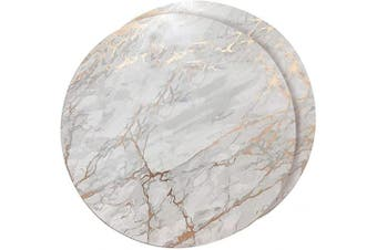 (38cm  Round, Marbled Rose Gold) - Dainty Home Foiled Granite Thick Cork Heat Resistant Dining Table Placemats Set of 2, 38cm Round, Marbled Rose Gold - 2MC15RGO