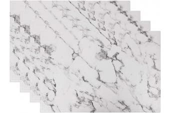 (Set of 4, B White Marble) - Marble Faux Laether PU Placemats, Set of 4, Easy to Clean, Heat & Stain Resistant for Conference Table,Dinging Home Office Decor
