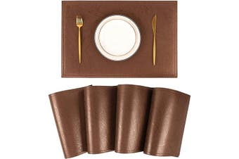 (Set of 4, H Champagne Brown) - Jovono Waterproof PU Placemats, Faux Leather Dinging Table Mat, Set of 4, Easy to Wipe Off Scrub Vinyl Mat, Heat & Stain Resistant for Office Conference Table, Home Decor