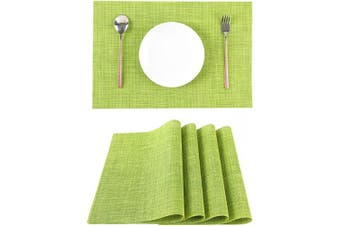 (Green) - LILYKING Green Placemats for Dining Table Heat-Resistant and Washable Table Mats of Kitchen Woven Textilene Non-Slip Insulation Placemat Set of 4