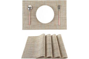 (Heather Grey) - LILYKING Placemats for Dining Table, Heat-Resistant Placemats, Stain Resistant Washable Table Mats, Woven Textilene Non-Slip Insulation Placemat, Set of 4 (Heather Grey)
