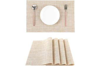 (Beige) - LILYKING Placemats for Dining Table, Heat-Resistant Placemats, Stain Resistant Washable Table Mats, Woven Textilene Non-Slip Insulation Placemat, Set of 4 (Beige)