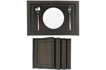 (Pl08-black) - LILYKING Placemats for Dining Table, Heat-Resistant Placemats, Stain Resistant Washable Table Mats, PVC Textilene Non-Slip Insulation Placemat, Set of 4 (PL08-BLACK)