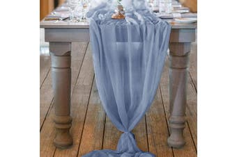 (Dusty Blue) - Mixsuperstore 3m Dusty Blue Chiffon Table Runner 70cm x 310cm Romantic Wedding Runner Sheer Bridal Party Decorations