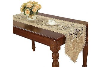 (16*120cm ) - Simhomsen Small Beige Lace Table Runners Dresser Scarves Embroidered Rose Flower 16 × 120cm