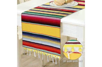 (-Yellow) - OurWarm Mexican Serape Table Runner, Upgraded Mexican Blanket Fiesta Table Runner with 3D Pom Pom Trims for Mexican Theme Party Wedding Decorations Fiesta Party Supplies, 36cm x 210cm
