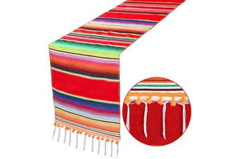 (Red) - OurWarm Mexican Table Runner Serape Blanket Table Runner with Pom Pom Trim for Mexican Wedding Fiesta Party Decorations, Fringe Cotton Table Runner 36cm x 210cm
