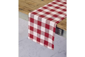(36cm  x 90cm , Red and White) - Solino Home 100% Pure Linen Buffalo Cheque Table Runner – 36cm x 90cm Red & White Cheques Table Runner Natural Fabric Handcrafted from European Flax