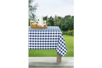 (180cm  Round with Umbrella Hole, Blue Buffalo Check) - Benson Mills Indoor Outdoor Spillproof Tablecloth for Spring/Summer/Party/Picnic (Blue Buffalo Cheque, 180cm Round with Umbrella Hole)