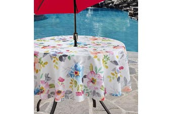 (180cm  Round with Umbrella Hole, Harper) - Benson Mills Indoor Outdoor Spillproof Tablecloth for Spring/Summer/Party/Picnic (Harper, 180cm Round with Umbrella Hole)