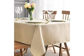 (Rectangle 150cm  X 300cm , Beige) - maxmill Jacquard Tablecloth Swirl Design Spillproof Wrinkle Free Oil Resistant Heavy Weight Soft Table Cloth Decorative Fabric Table Cover for Outdoor and Indoor Use Oblong 150cm x 300cm Beige