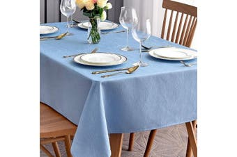 (Rectangle 150cm  X 360cm , Sky Blue) - maxmill Jacquard Table Cloth Swirl Design Water Resistant Wrinkle Resistance Oil Proof Heavy Weight Soft Tablecloth for Kitchen Dinning Tabletop Decoration Oblong 150cm x 360cm Sky Blue