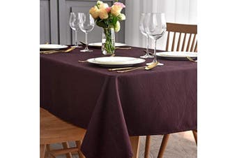 (Rectangle 150cm  X 210cm , Burgundy) - maxmill Jacquard Tablecloth Swirl Design Water Resistance Antiwrinkle Oil Proof Heavy Weight Soft Table Cloth for Buffet Banquet Parties Event Holiday Dinner Rectangle 150cm x 210cm Burgundy