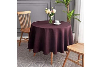 (Round 230cm , Burgundy) - maxmill Round Jacquard Tablecloths Swirl Design Spillproof Wrinkle Free Heavy Weight Soft Table Cloth for Circular Table Cover of Buffet Banquet Parties Holiday Dinner Round 230cm Burgundy